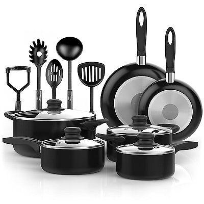 Vremi 15 Pcs Nonstick Cookware Set w/ Cooking Utensils Non Stick Pots Pans Black