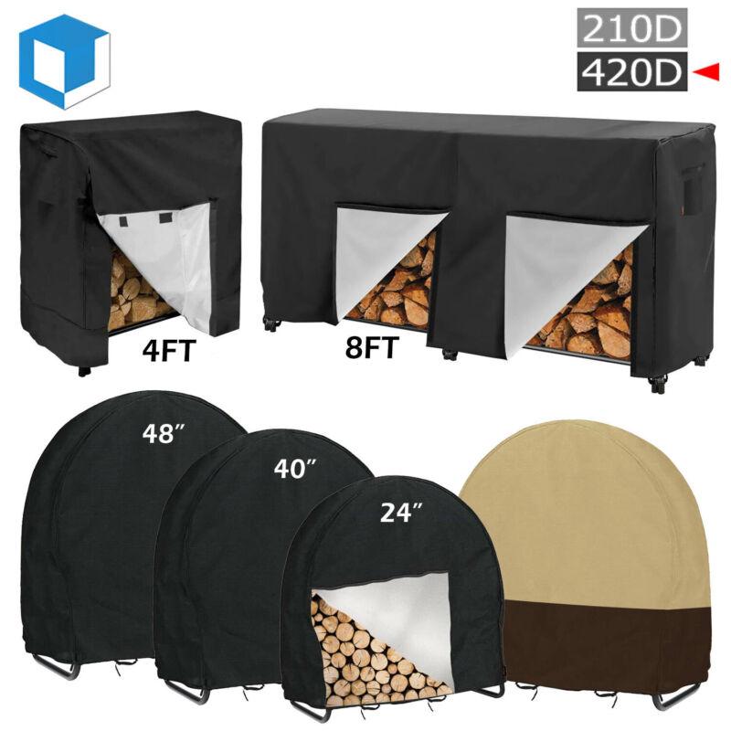 """4/8FT Wood Log Rack 40"""" Firewood Log Hoop Cover Sun Protector Waterproof Storage"""