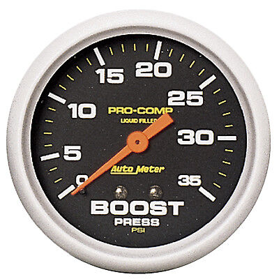 "AutoMeter 5404 Pro-Comp 2-5/8"" Liquid Filled Boost Gauge 0-35 PSI Mechanical"