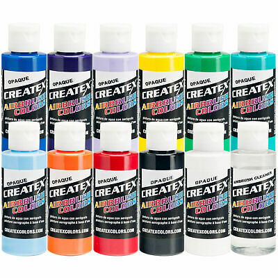 Createx 12 Color Opaque Airbrush Paint Set, 2 oz. Bottles (11 colors + cleaner) Createx Paint 2 Oz Bottle