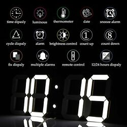 Remote Control LED Digital Wall Clock with Countdown Timer Temperature Date USA