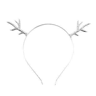 eweih Metall Haarreif Silber Fasching Karneval Weihnachten (Weihnachten Rentier-geweih)