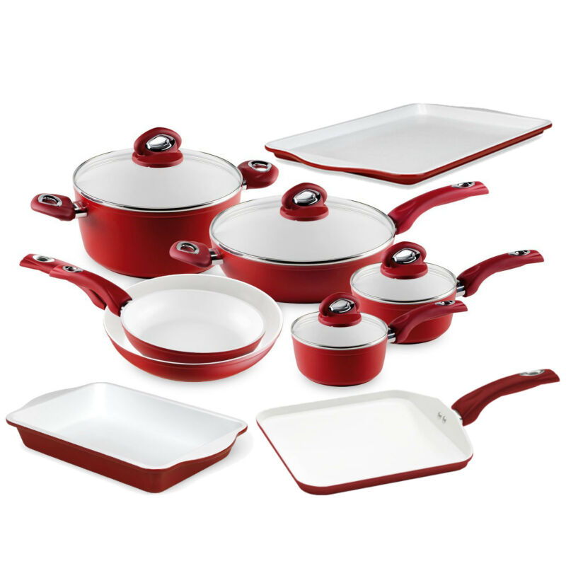 Bialetti Aeternum cookware High-temp Non-stick Red White 13 Piece Kitchen Set