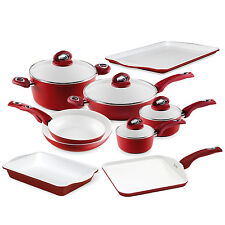Bialetti Aeternum cookware High-temp Non-stick Red White 13 Piece Kitchen Set
