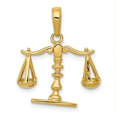 14k Yellow Gold 3-D Moveable Scales of Justice Pendant (0.7INx0.7IN) 14k Gold Scales