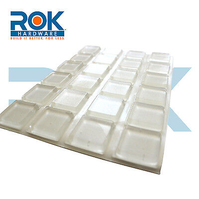 "25 Pack Self-Adhesive Rubber Feet Large Clear Square Bumpers 1.0"" x 0.18"""
