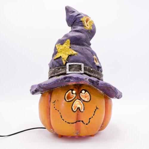 "12"" Halloween Fiber Optic Pumpkin with Witch Hat VIDEO Jack O"