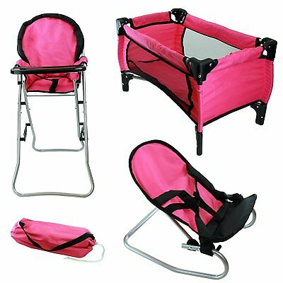 3 pc Doll Play Set Furniture Playpen Highchair Bouncer Baby Kids Folding (Baby Doll Furniture Sets)