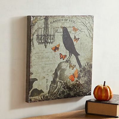 NWT PIER1  Halloween  garden of evil metal SIGN WALL DECOR  16.5 x 16.5 ()