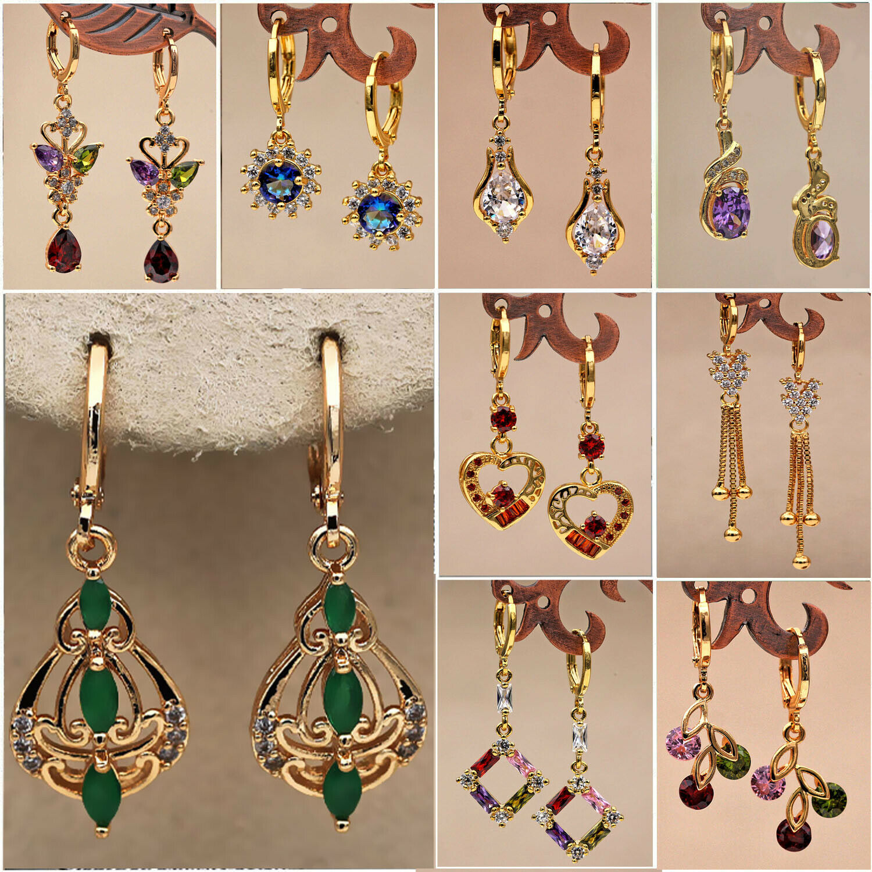 Trendy Gold Topaz Zircon Stone Women Jewelry Gift Dangle Dro