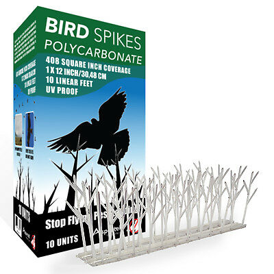 Aspectek Bird Spikes Polycarbonate Kit 10 Ft with Silicone Glue Deterrent HR411