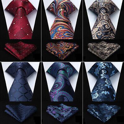 Hisdern Men's Tie Paisley Check Dot Silk Necktie Handkerchief Set Wedding - Dot Silk Tie