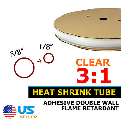 25ft Heat Shrink Tubing 3810mm Clear 31 Electrical Connection Adhesive Glue