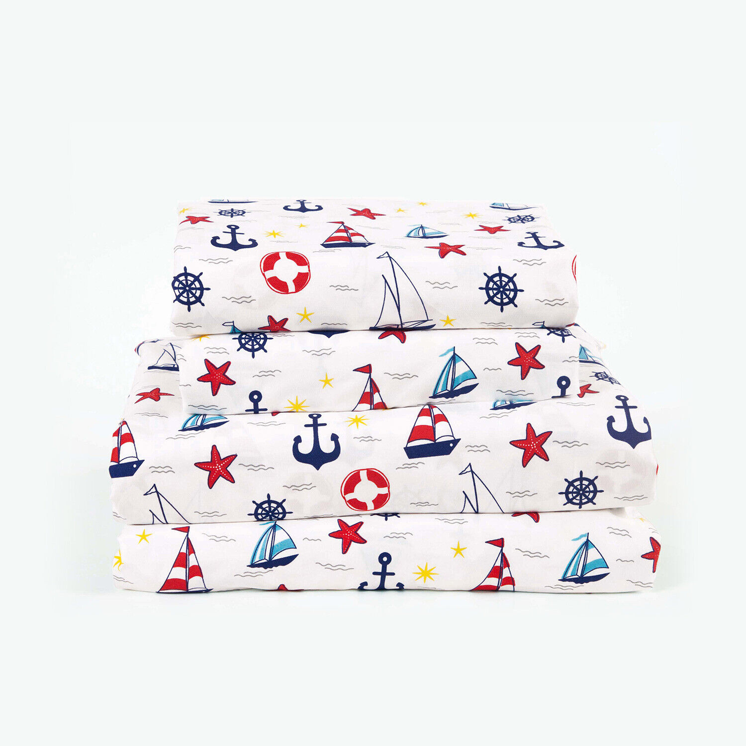 Twin, Full or Queen Sailboat Microfiber Bed Sheet Set Deep Pocket, Navy Blue Red Bedding
