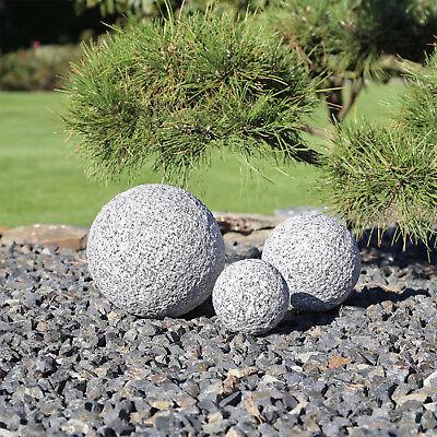 3 Granit Kugeln Garten Gartenkugeln Kugel Granitkugel 3er Set grau gestockt Deko