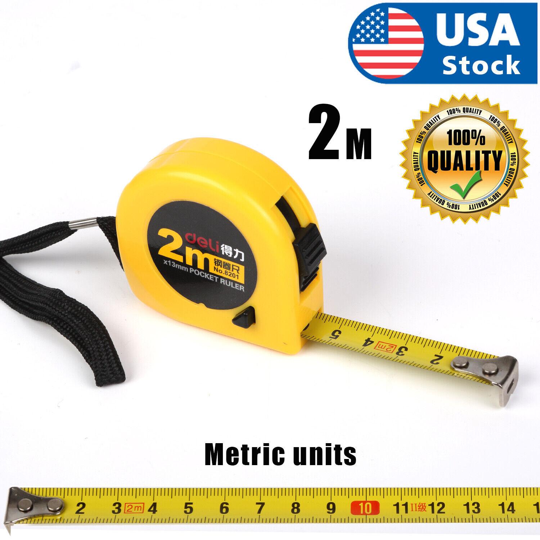 2m Retractable Tape Measure Griplock Imperial Metric Measuring USA Home & Garden