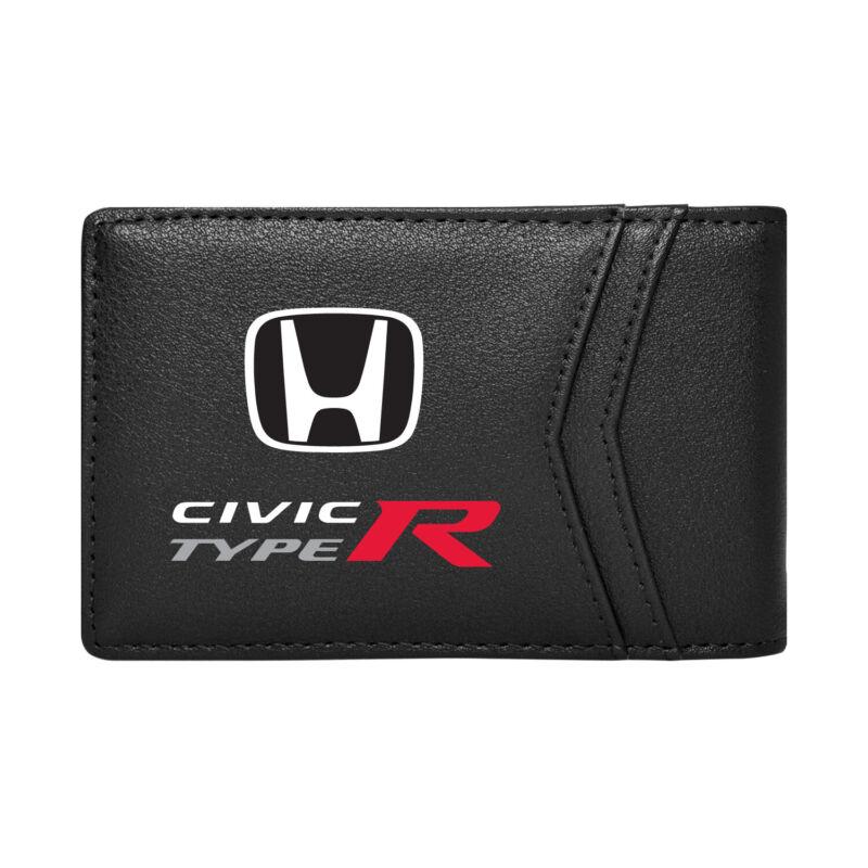 Honda Civic Type-R Black PU Leather Slim RFID Resistant Bi-fold Men Wallet