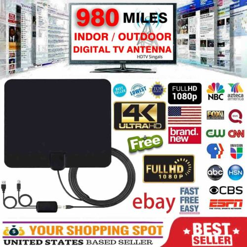 Digital TV Antenna 980 Miles Range Signal Booster Amplifier HDTV Indoor 4K 1080P