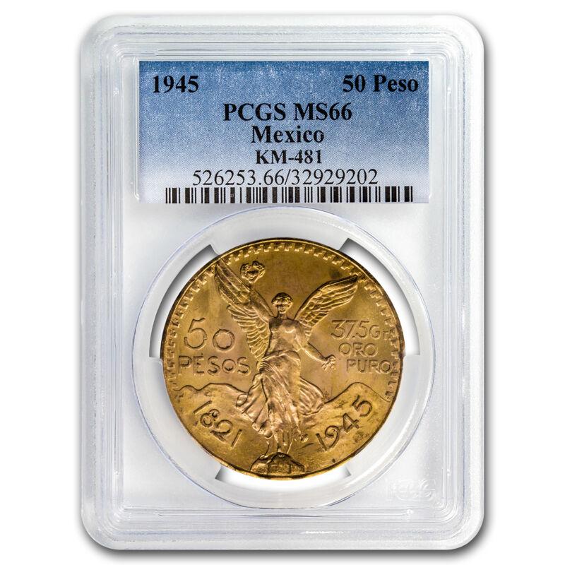 1945 Mexico Gold 50 Pesos Ms-66 Pcgs - Sku #93944