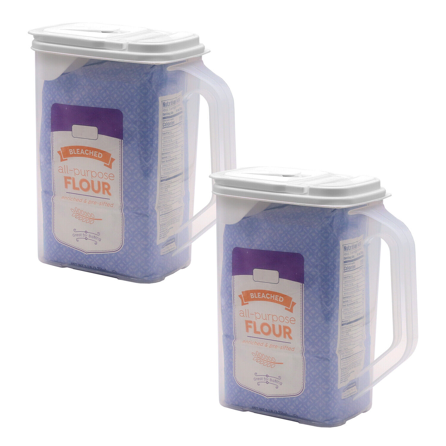 2 Pack Food Storage Container 4 Qt Flour Sugar Keeper Pour n' Store with Handle Food Storage Containers
