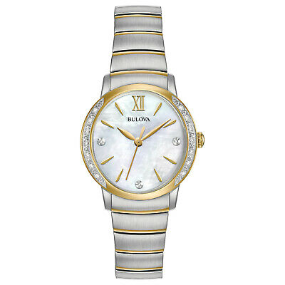 Bulova Women's Diamond Accents Quartz Silver and Gold Tone 28mm Watch 98R231