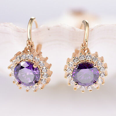 - Dangle Flower Daisy Style Amethyst Crystal Gold Filled Women Lady Hoop Earrings