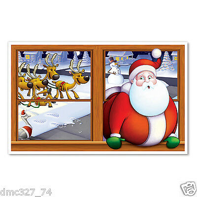 CHRISTMAS Party Decoration Insta View Mural SANTA STUCK IN A WINDOW