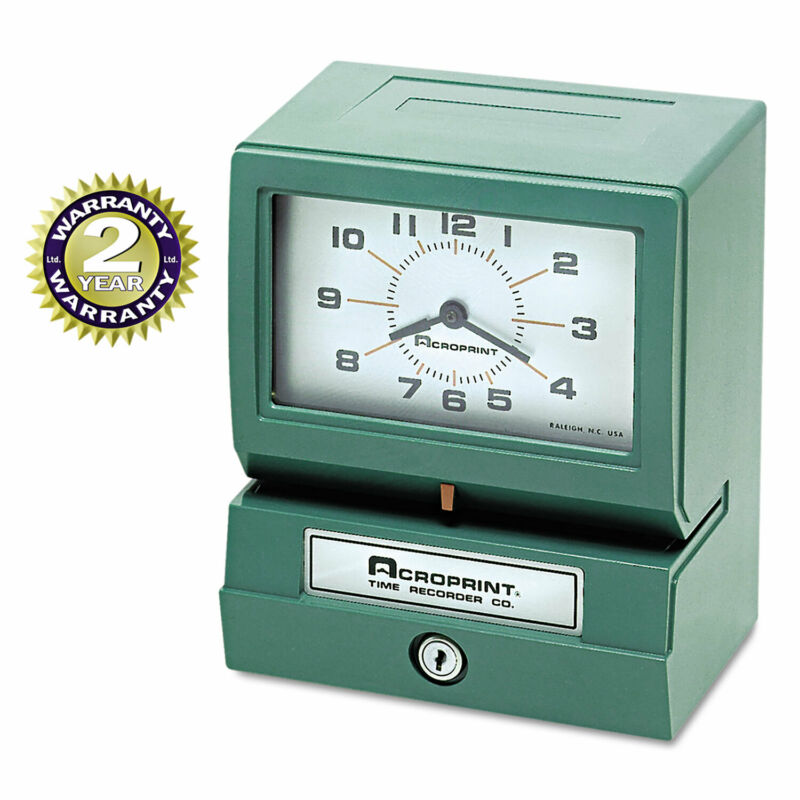 Acroprint Model 150 Analog Automatic Print Time Clock with Month/Date/1-12 Hours