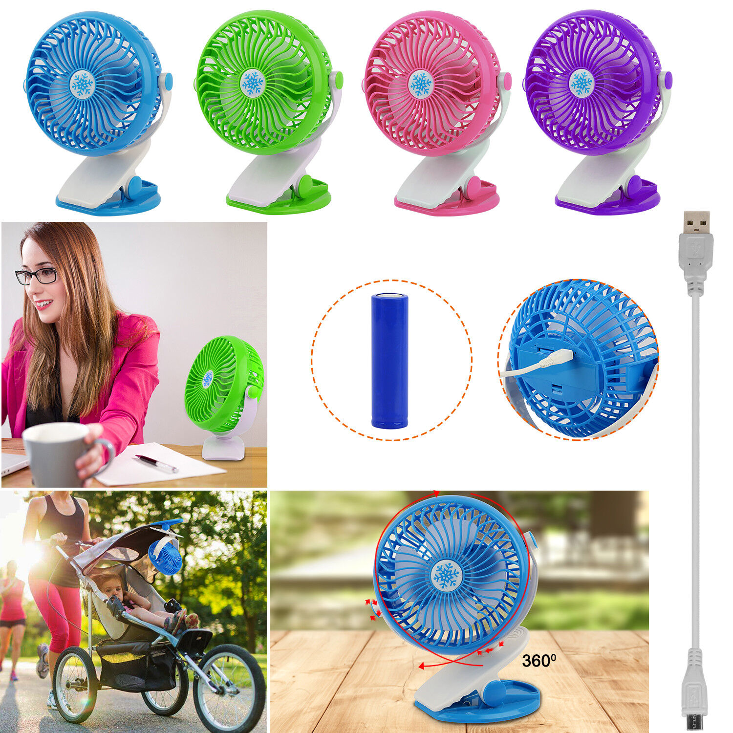 Portable Fan Rechargeable Battery Mini Oscillating Clip On b