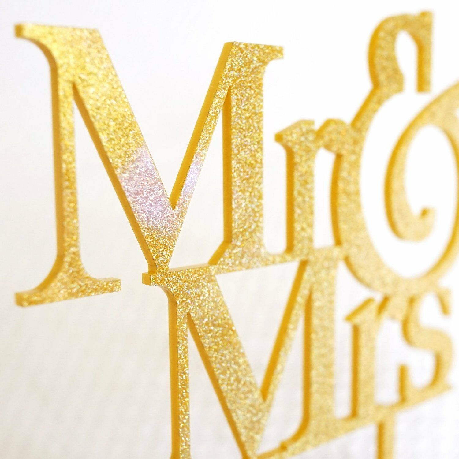 MR AND MRS Gold Glitter Acrylic Cake Topper Bride and Groom Wedding ...