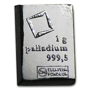 1 gram Palladium Bar - Secondary Market - No Assay Card - SKU #77400