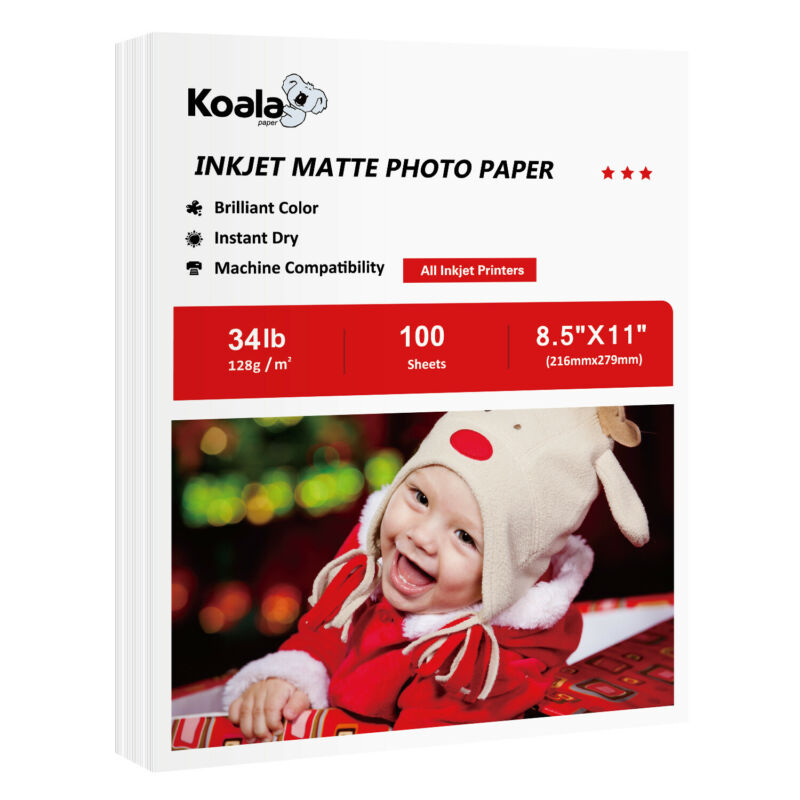 Koala 100 Sheets 8.5x11 Premium Matte Inkjet Printer Photo Paper HP Epson Flyers
