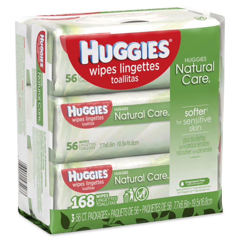 Huggies Natural Care Baby Wipes Unscented White 56/Pack 3-Pack/Box 43403PK