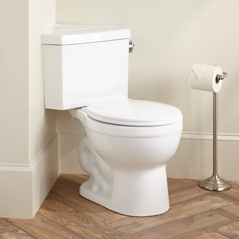Signature Hardware Barnum Dual Flush Corner Toilet With Seat in ...