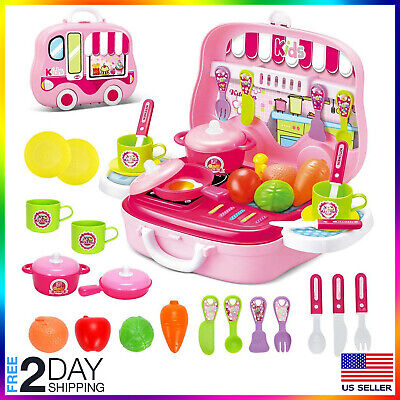 Kitchen Play set for Girls Kids Pretend Cooking Playset for Chef Role Play + cas