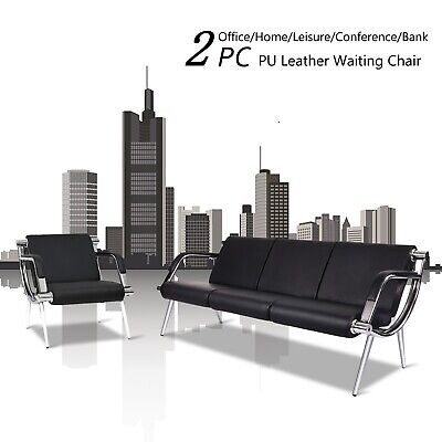 2PC Office Reception Chair Waiting Room Bench Airport Clinic Visitor Guest Sofa