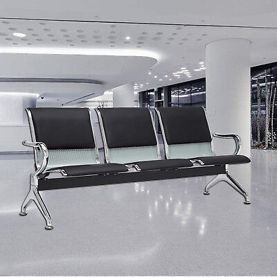 Black 3-seat Bench Airport Office Reception Waiting Chair W Pu Leather Cushion