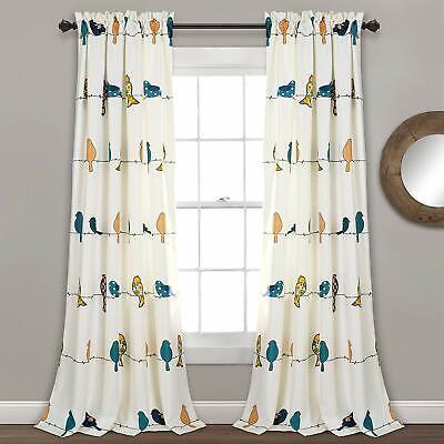 Lush Decor Rowley Birds Darkening Window Curtains Panel Set for Living Room 84