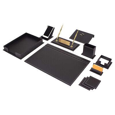 Desk Blotter Set Vegan 13 Pcs. Made Of Leather Sewing White In Black