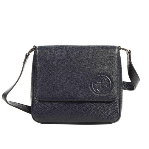 NWT NEW Gucci girls navy blue Soho leather crossbody bag 355203