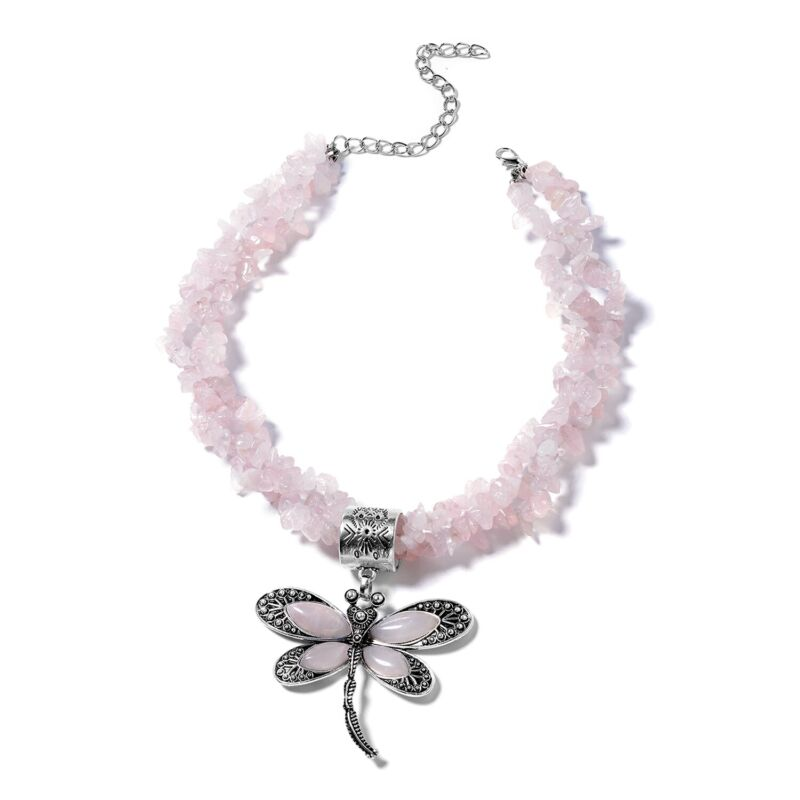 """Dragonfly Pendant Necklace Rose Quartz Gift Jewelry for Women Size 18"""" Ct 567"""