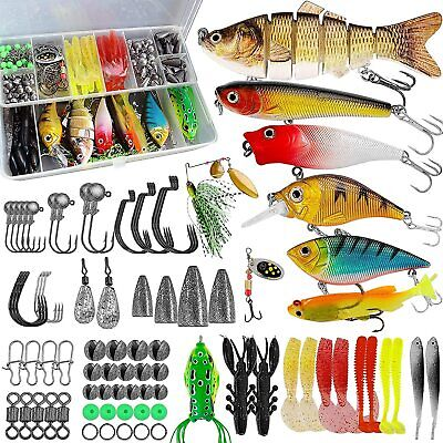 193Pcs Fishing Tackle Kit Fishing Lures Accessories set Tackle Box Gear Lures US
