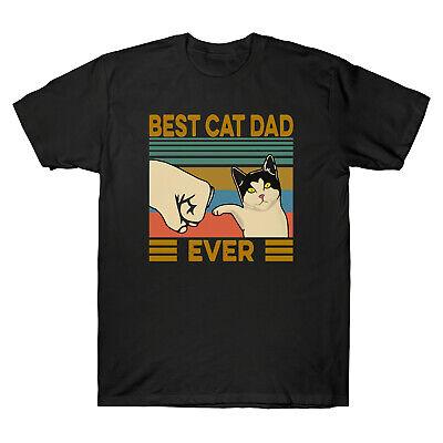 Best Cat Dad Ever Funny Cat Lover Vintage Men's T Shirt Retro Cotton Tee