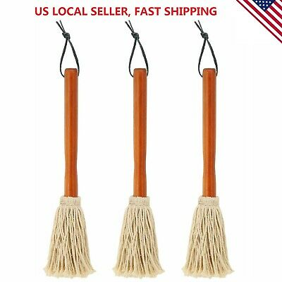 """3 Pk 12"""" BBQ Sauce Basting Mops for Roasting Grilling Cooking or Cleaning Brush"""