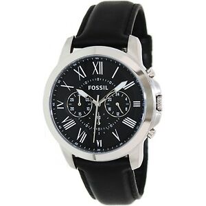 Fossil-Men-039-s-Grant-FS4812-Black-Leather-Quartz-Fashion-Watch