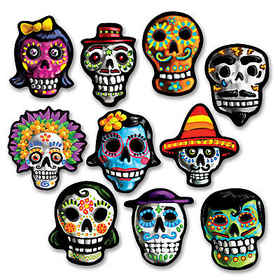 10 Halloween DAY OF THE DEAD Dia de Los Muertos SUGAR SKULL CUTOUT Decorations](Halloween 10 Days)