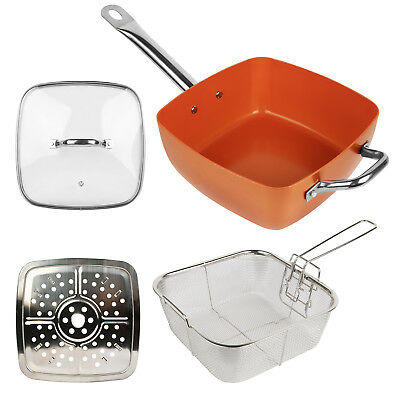 Deep Square Copper Non-Stick Induction Bottom Frying Pan 3 pcs Set Cookware NEW