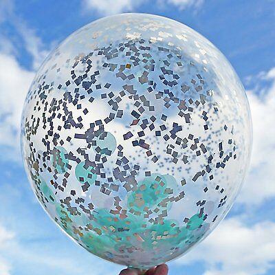 6 Mint White Silver Confetti Balloons 18