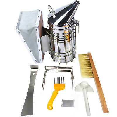 6 Pcs Kit Beekeeping Equipment Tool Bee Brush Catcher Fork Cage Queen Hive Tools