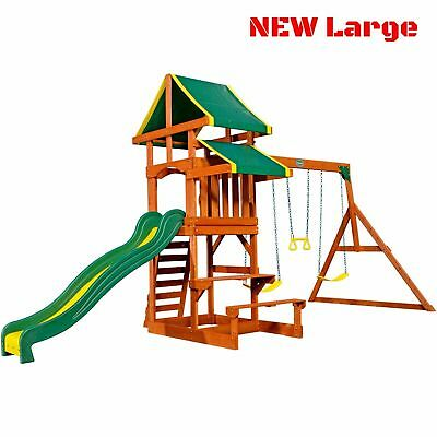 Porch Swing Set For Kids Toddler Backyard Patio Wooden Playset Play Slide House ()